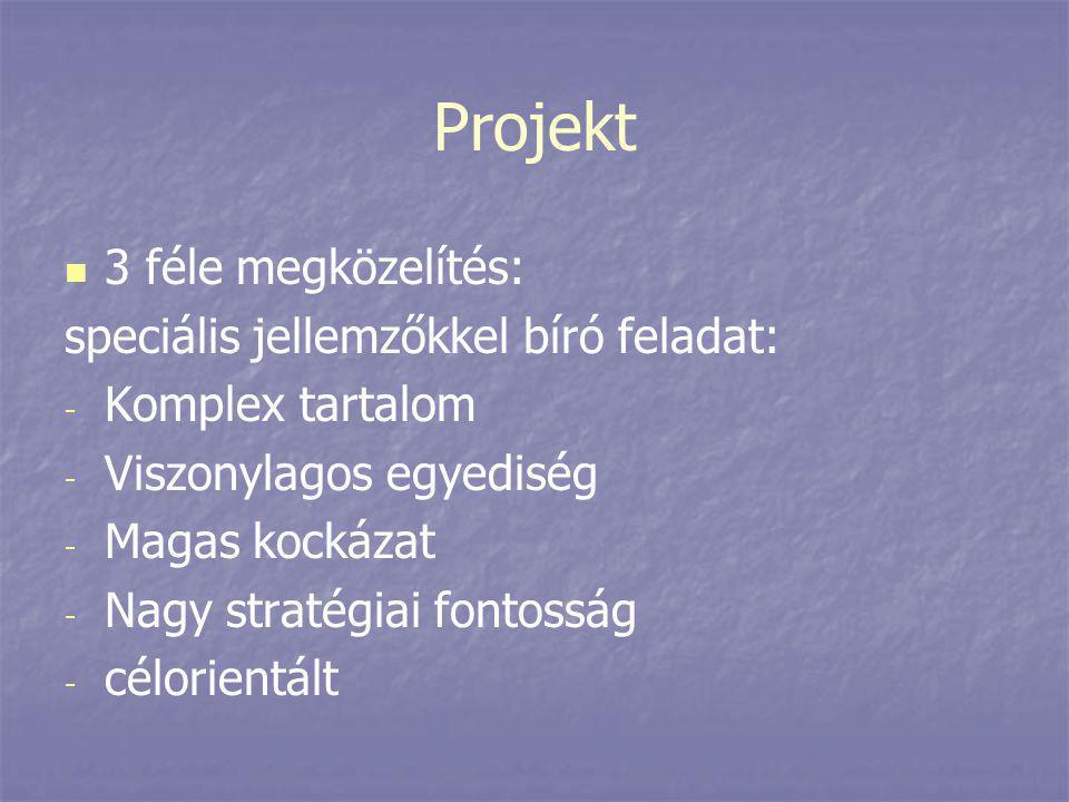 Projekt 3 féle megközelítés: speciális jellemzőkkel bíró feladat: