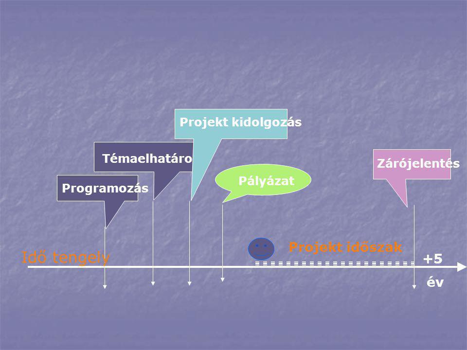 Idő tengely Projekt időszak +5 év Projekt kidolgozás Témaelhatárolás