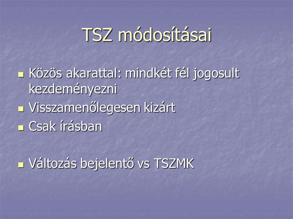 TSZ módosításai Közös akarattal: mindkét fél jogosult kezdeményezni