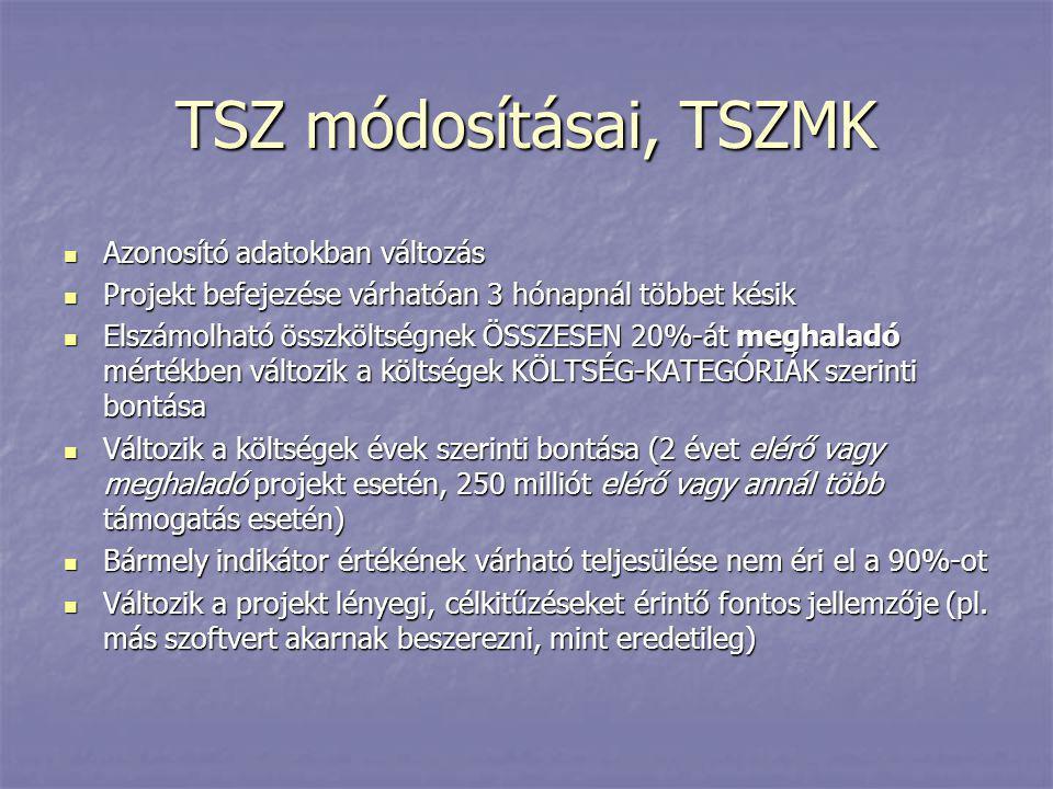 TSZ módosításai, TSZMK Azonosító adatokban változás
