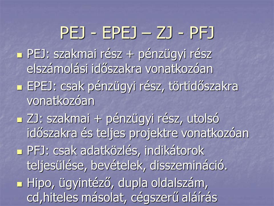 PEJ - EPEJ – ZJ - PFJ PEJ: szakmai rész + pénzügyi rész elszámolási időszakra vonatkozóan. EPEJ: csak pénzügyi rész, törtidőszakra vonatkozóan.