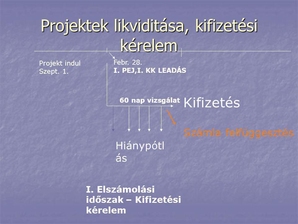 Projektek likviditása, kifizetési kérelem