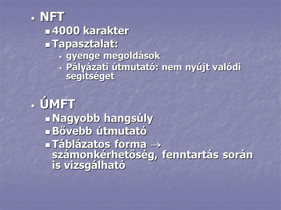 NFT ÚMFT 4000 karakter Tapasztalat: Nagyobb hangsúly Bővebb útmutató