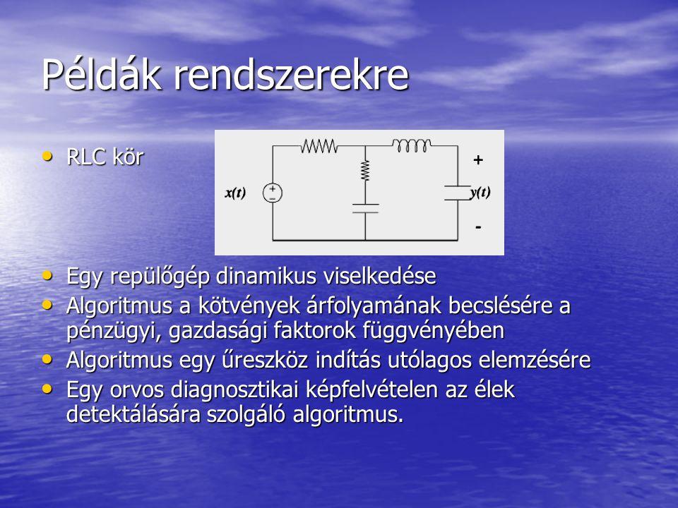 Példák rendszerekre RLC kör Egy repülőgép dinamikus viselkedése