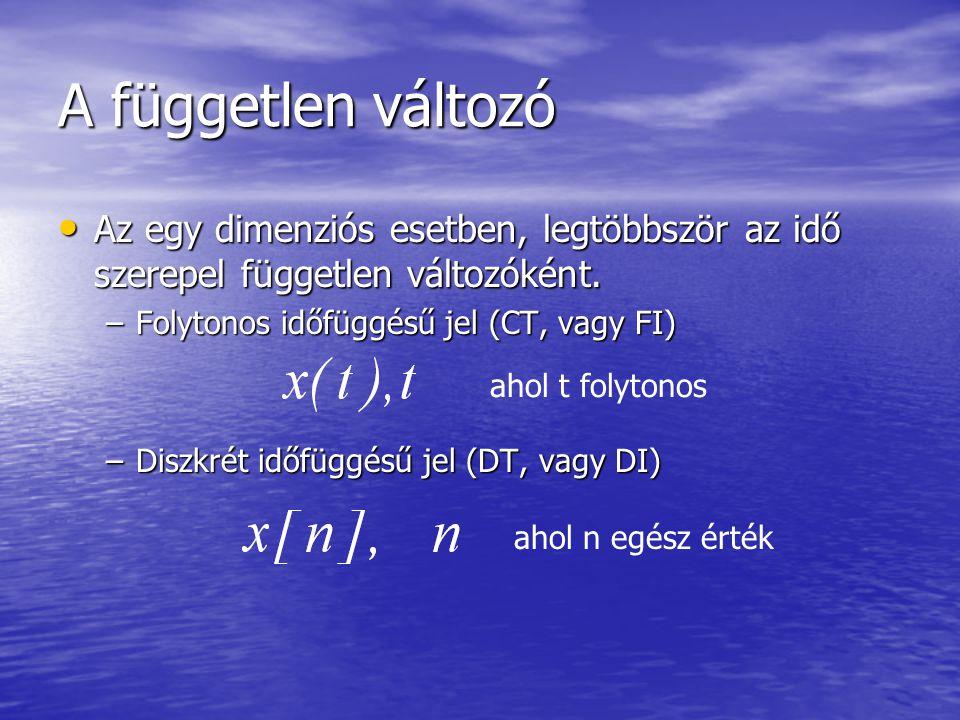 A független változó Az egy dimenziós esetben, legtöbbször az idő szerepel független változóként. Folytonos időfüggésű jel (CT, vagy FI)