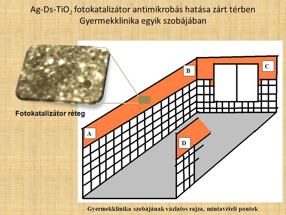 Ag-Ds-TiO2 fotokatalizátor antimikrobás hatása zárt térben Gyermekklinika egyik szobájában