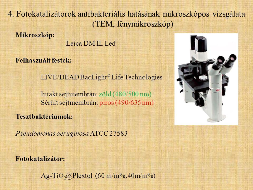 4. Fotokatalizátorok antibakteriális hatásának mikroszkópos vizsgálata (TEM, fénymikroszkóp)