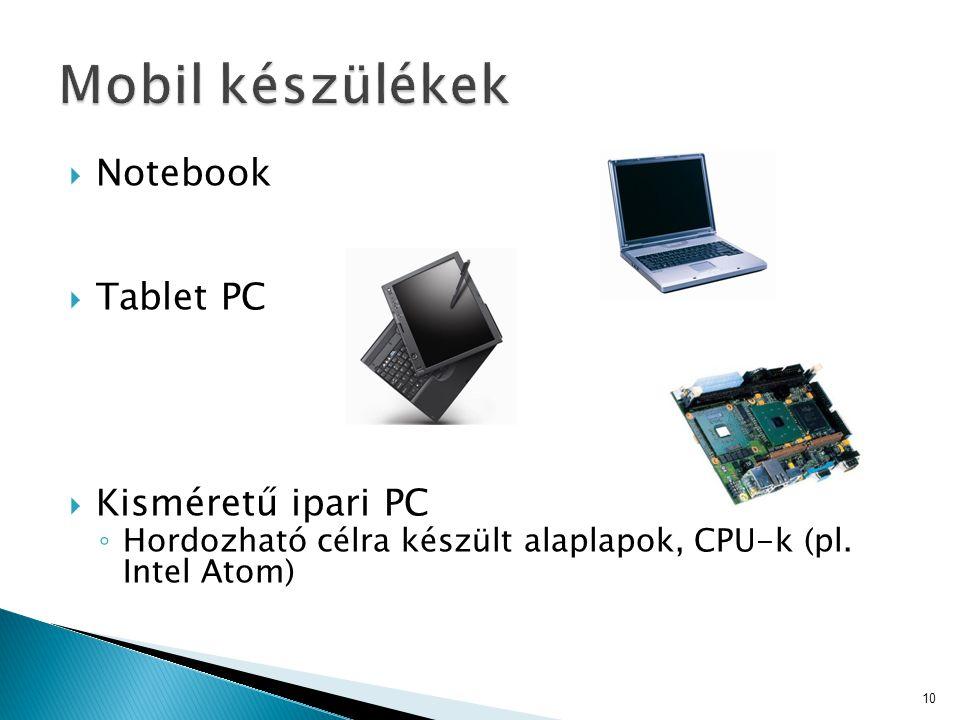 Mobil készülékek Notebook Tablet PC Kisméretű ipari PC