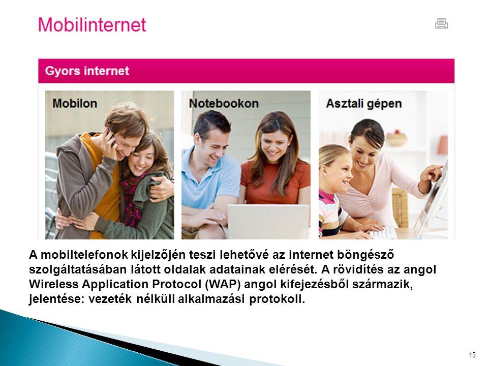 A mobiltelefonok kijelzőjén teszi lehetővé az internet böngésző szolgáltatásában látott oldalak adatainak elérését.