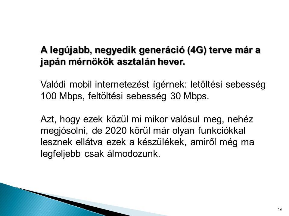 A legújabb, negyedik generáció (4G) terve már a japán mérnökök asztalán hever.