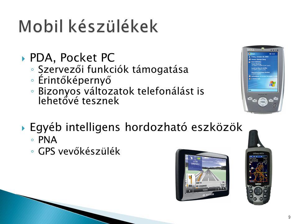 Mobil készülékek PDA, Pocket PC Egyéb intelligens hordozható eszközök
