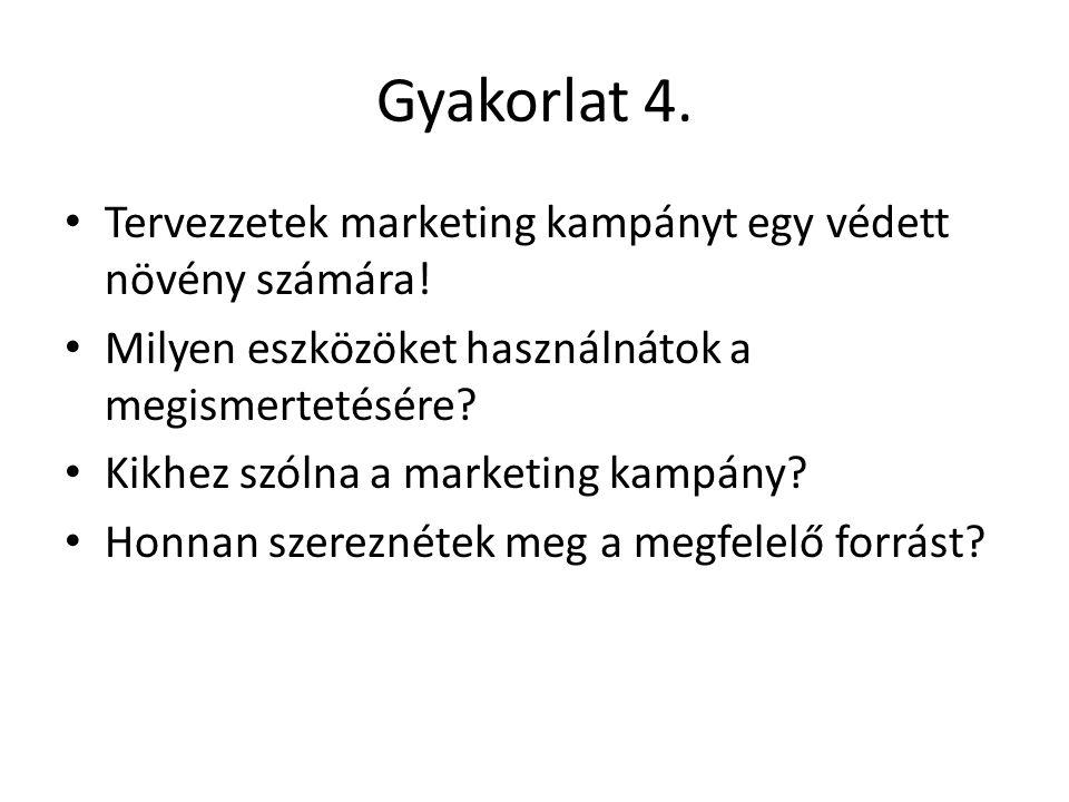 Gyakorlat 4. Tervezzetek marketing kampányt egy védett növény számára!
