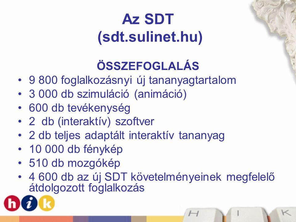 Az SDT (sdt.sulinet.hu) ÖSSZEFOGLALÁS