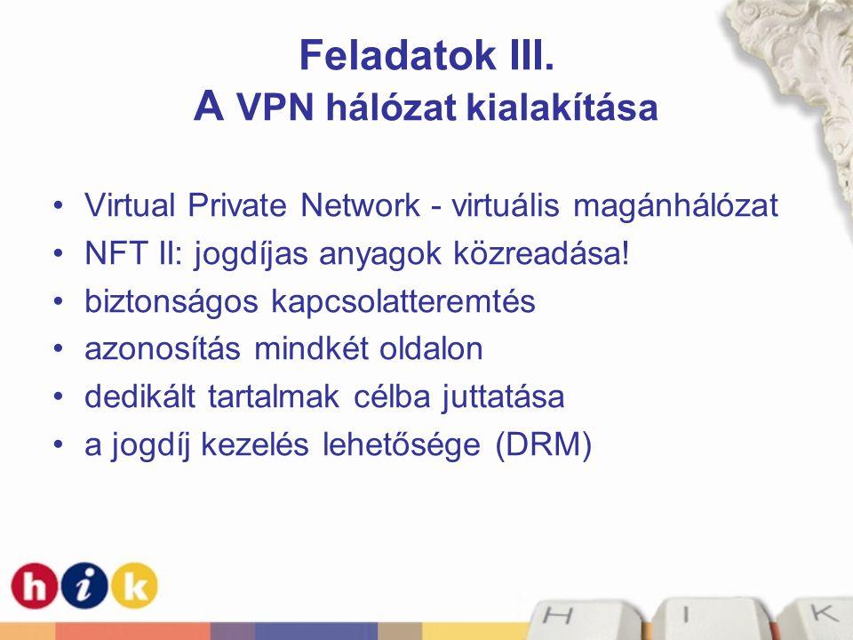 Feladatok III. A VPN hálózat kialakítása