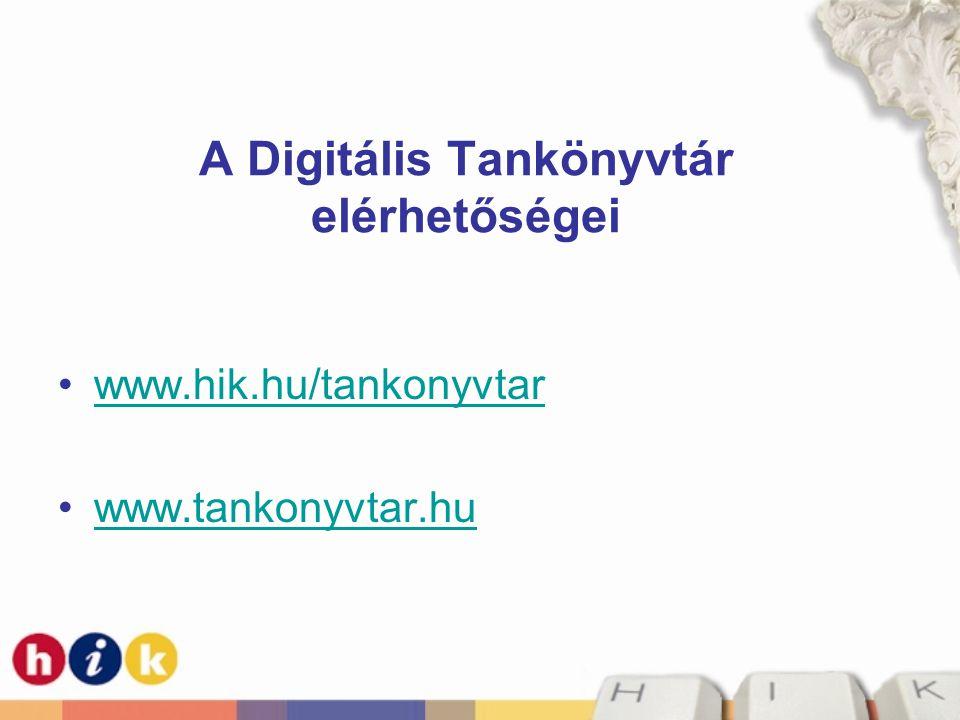 A Digitális Tankönyvtár elérhetőségei
