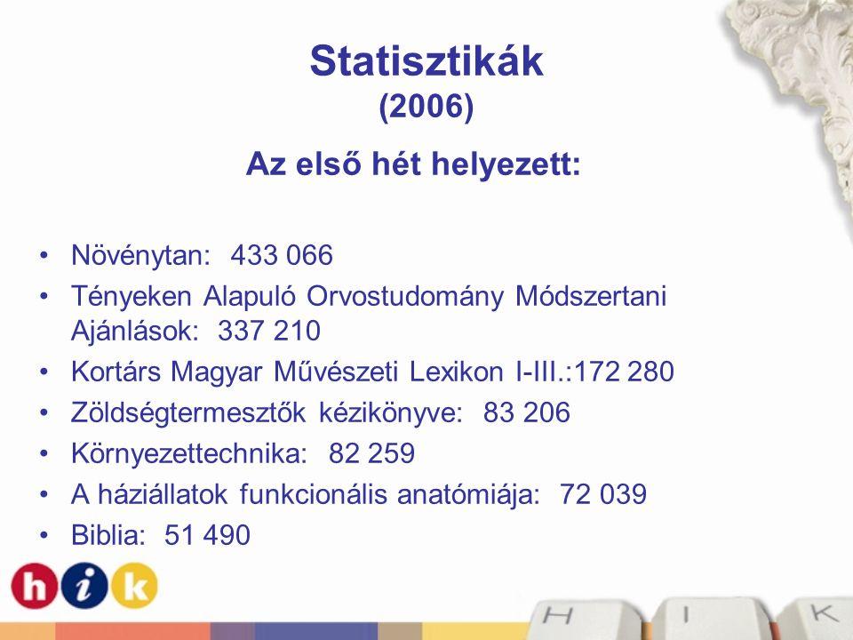 Statisztikák (2006) Az első hét helyezett: Növénytan: 433 066