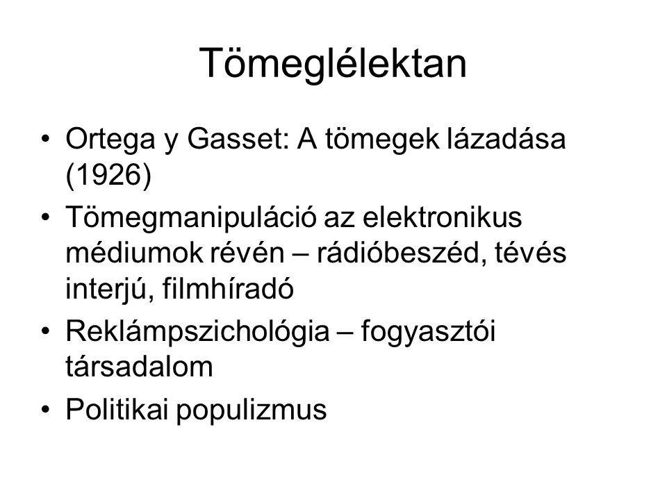 Tömeglélektan Ortega y Gasset: A tömegek lázadása (1926)