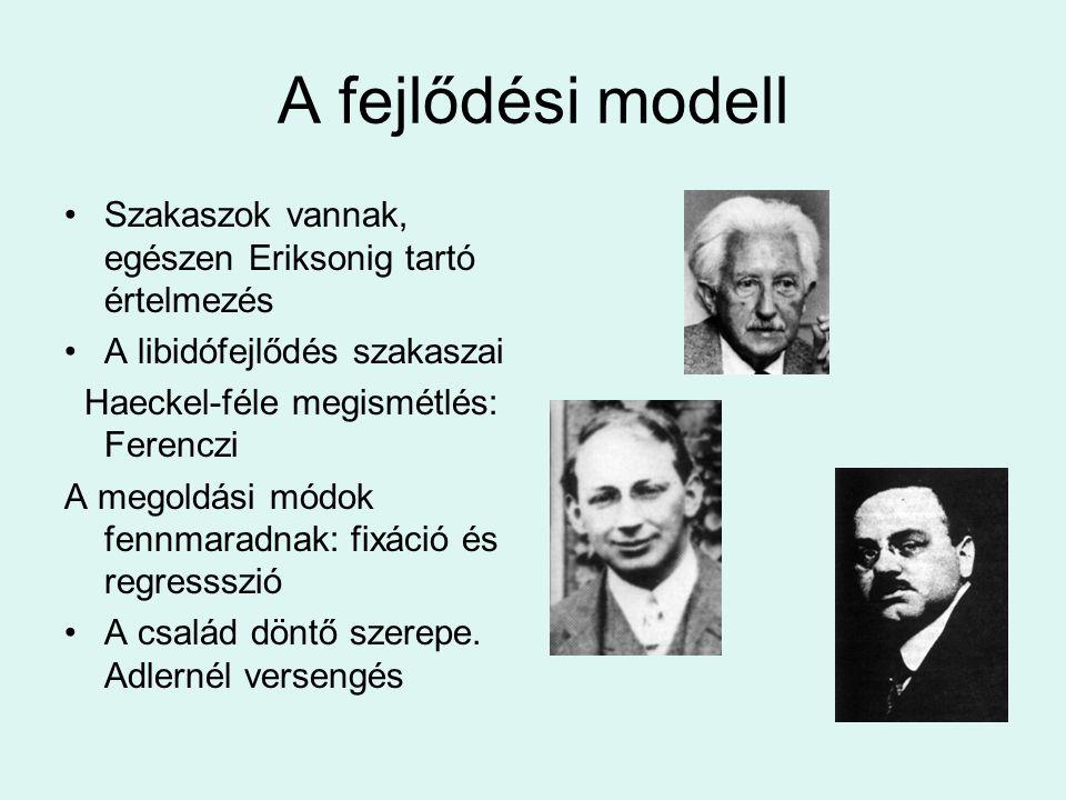A fejlődési modell Szakaszok vannak, egészen Eriksonig tartó értelmezés. A libidófejlődés szakaszai.