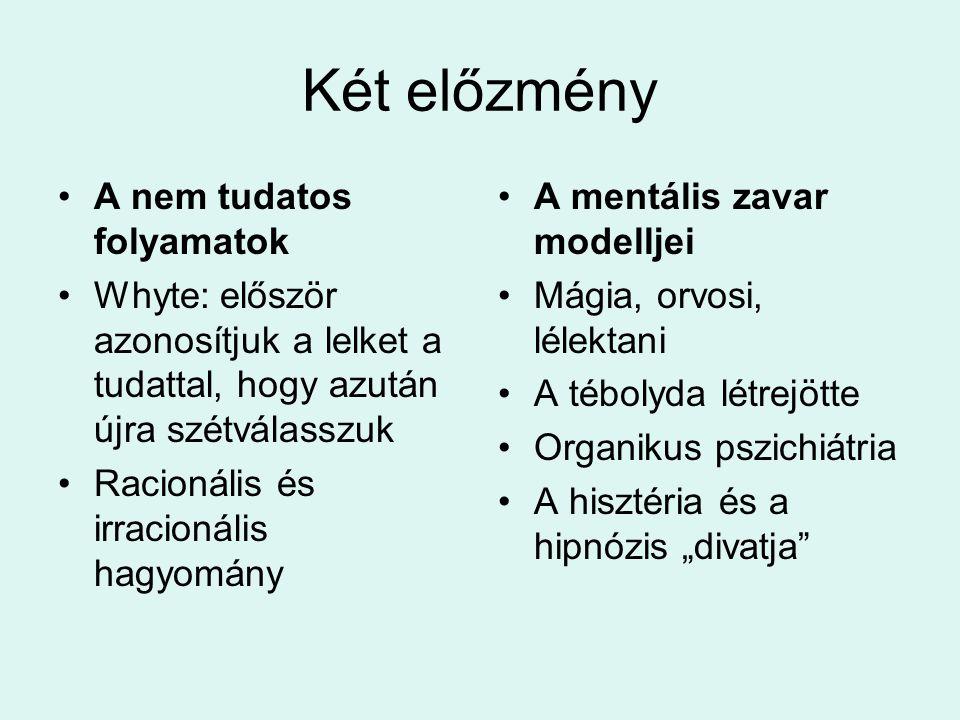 Két előzmény A nem tudatos folyamatok
