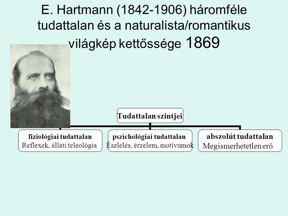 E. Hartmann (1842-1906) háromféle tudattalan és a naturalista/romantikus világkép kettőssége 1869