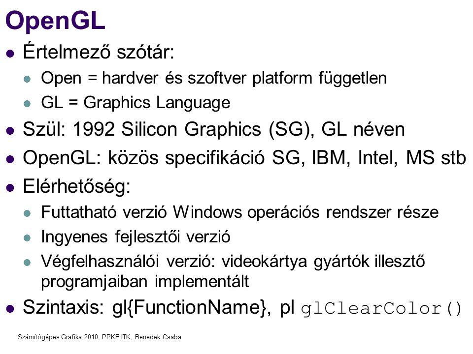 OpenGL Értelmező szótár: Szül: 1992 Silicon Graphics (SG), GL néven