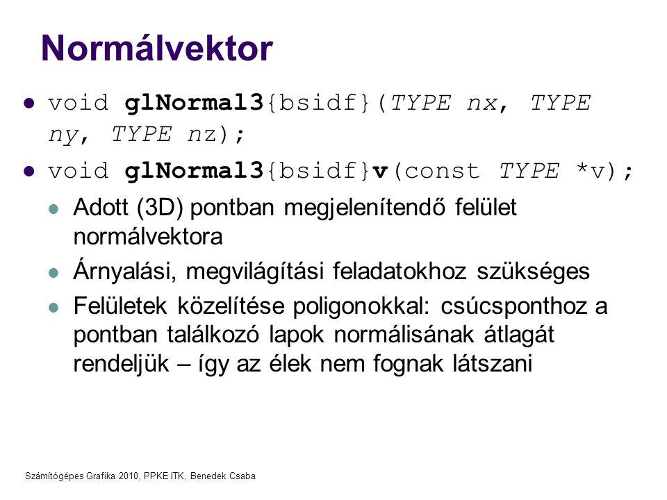 Normálvektor void glNormal3{bsidf}(TYPE nx, TYPE ny, TYPE nz);