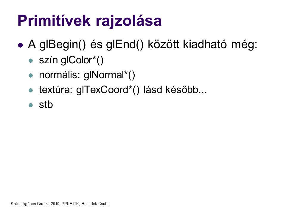 Primitívek rajzolása A glBegin() és glEnd() között kiadható még: