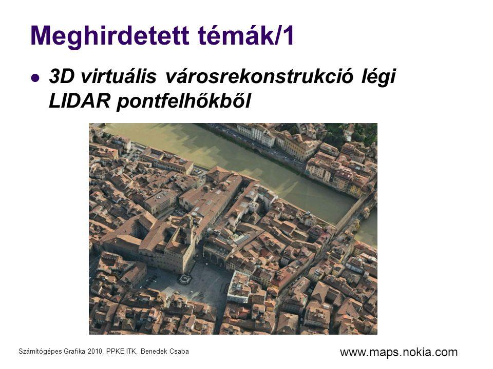 Meghirdetett témák/1 3D virtuális városrekonstrukció légi LIDAR pontfelhőkből www.maps.nokia.com