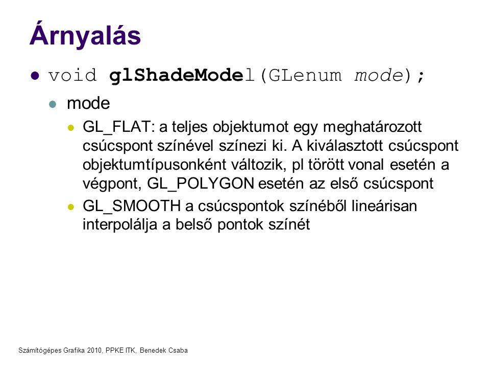 Árnyalás void glShadeModel(GLenum mode); mode
