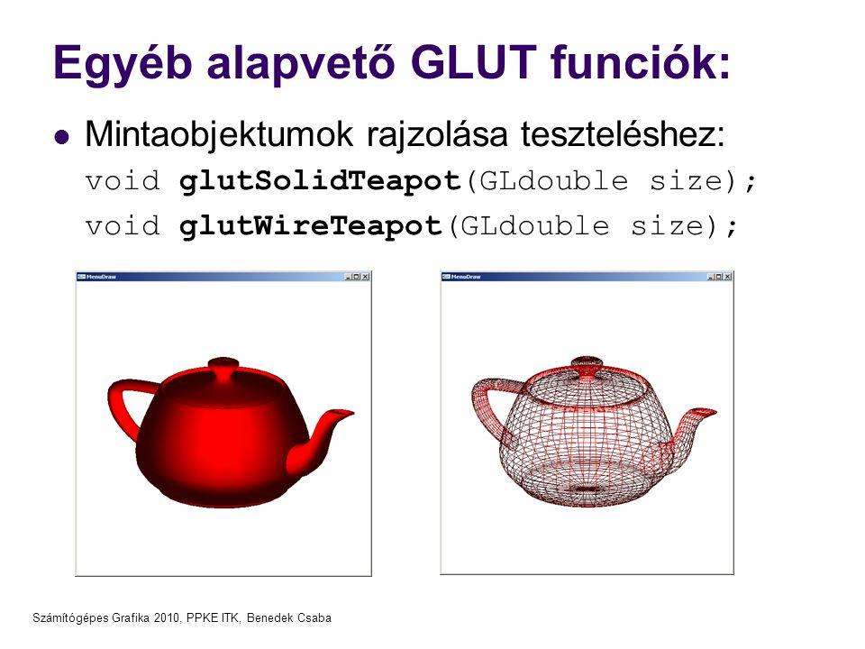 Egyéb alapvető GLUT funciók: