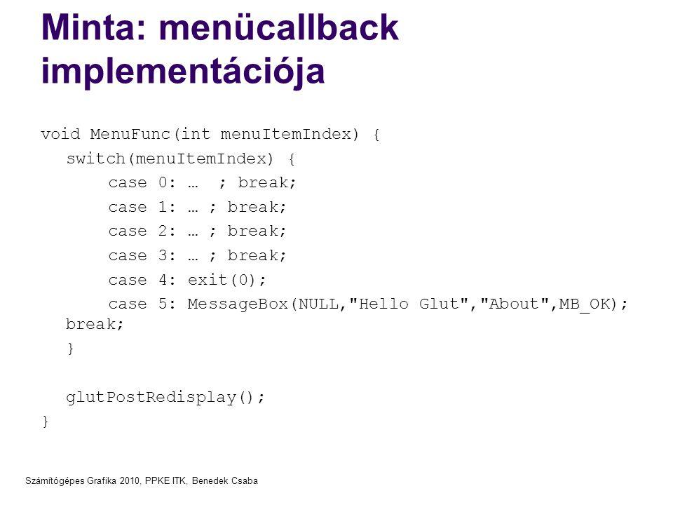Minta: menücallback implementációja