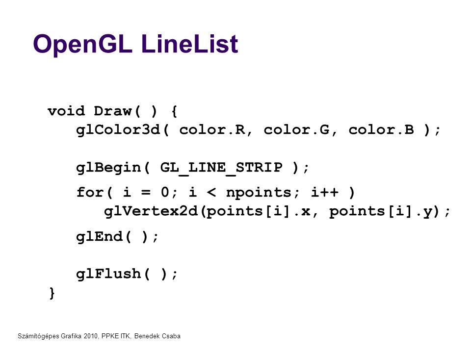 OpenGL LineList void Draw( ) { glColor3d( color.R, color.G, color.B );