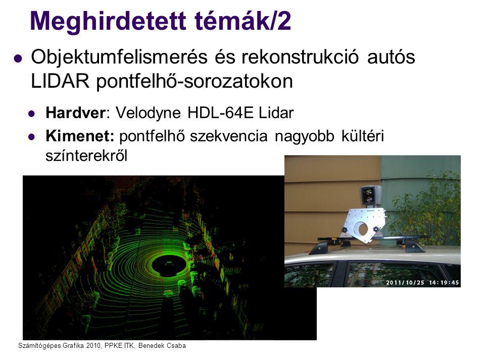 Meghirdetett témák/2 Objektumfelismerés és rekonstrukció autós LIDAR pontfelhő-sorozatokon. Hardver: Velodyne HDL-64E Lidar.