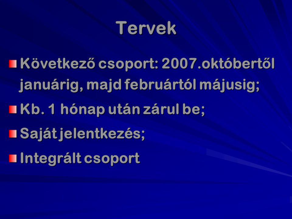 Tervek Következő csoport: 2007.októbertől januárig, majd februártól májusig; Kb. 1 hónap után zárul be;