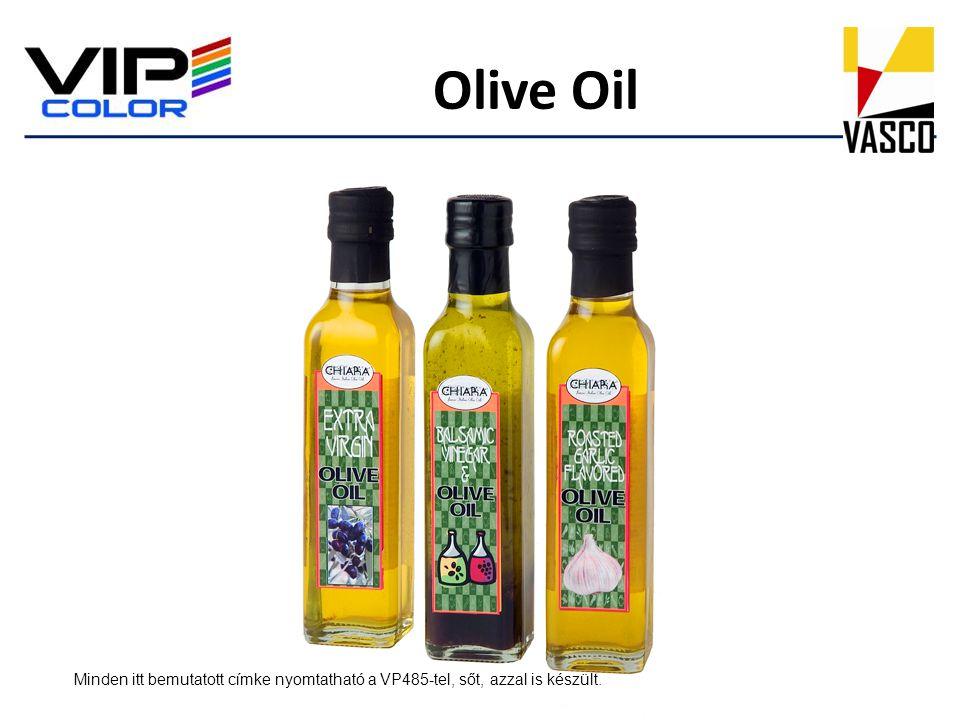 Olive Oil Minden itt bemutatott címke nyomtatható a VP485-tel, sőt, azzal is készült.