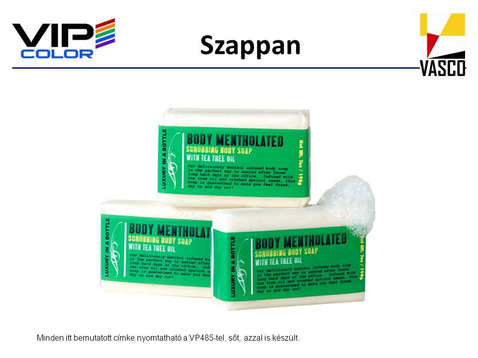 Szappan Minden itt bemutatott címke nyomtatható a VP485-tel, sőt, azzal is készült.
