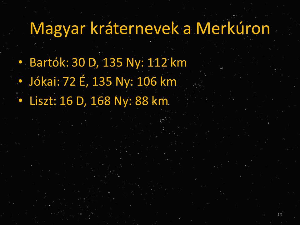 Magyar kráternevek a Merkúron