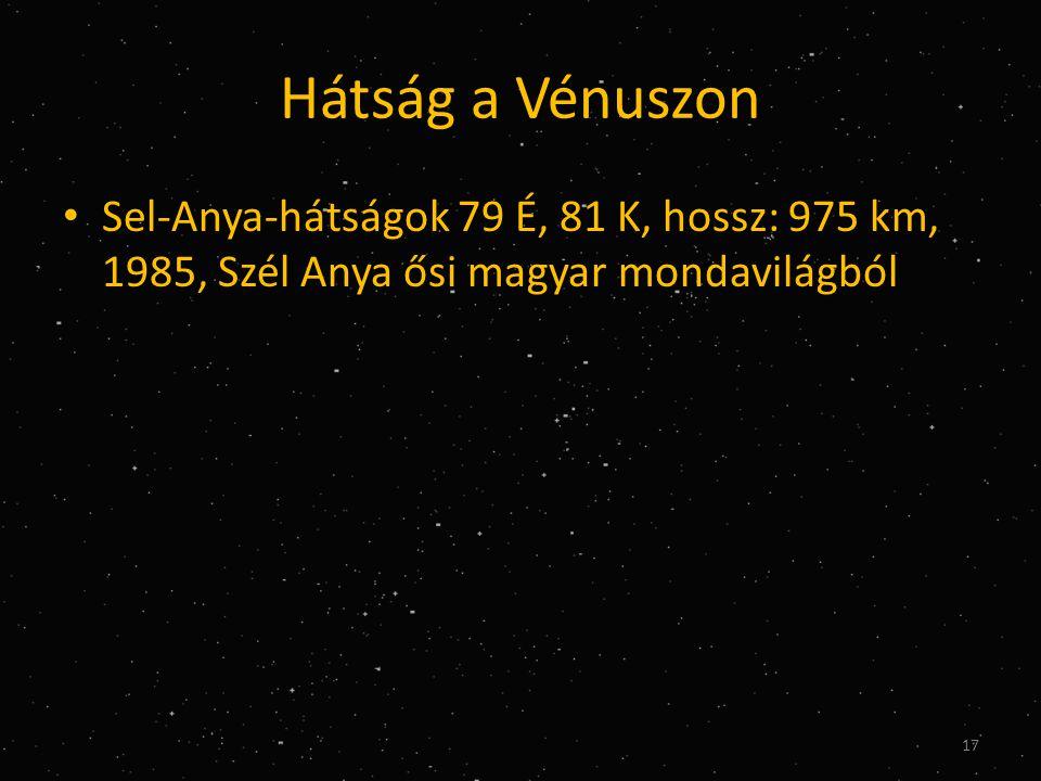 Hátság a Vénuszon Sel-Anya-hátságok 79 É, 81 K, hossz: 975 km, 1985, Szél Anya ősi magyar mondavilágból.