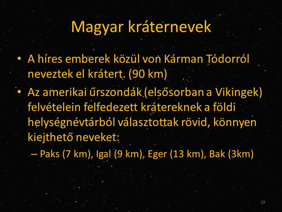 Magyar kráternevek A híres emberek közül von Kárman Tódorról neveztek el krátert. (90 km)