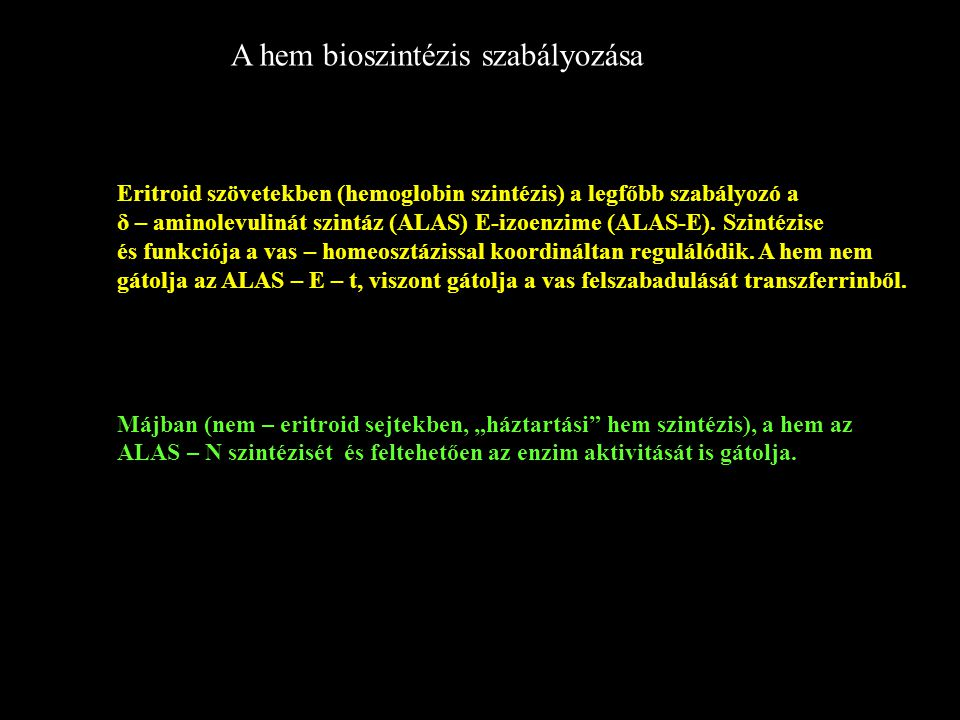 A hem bioszintézis szabályozása