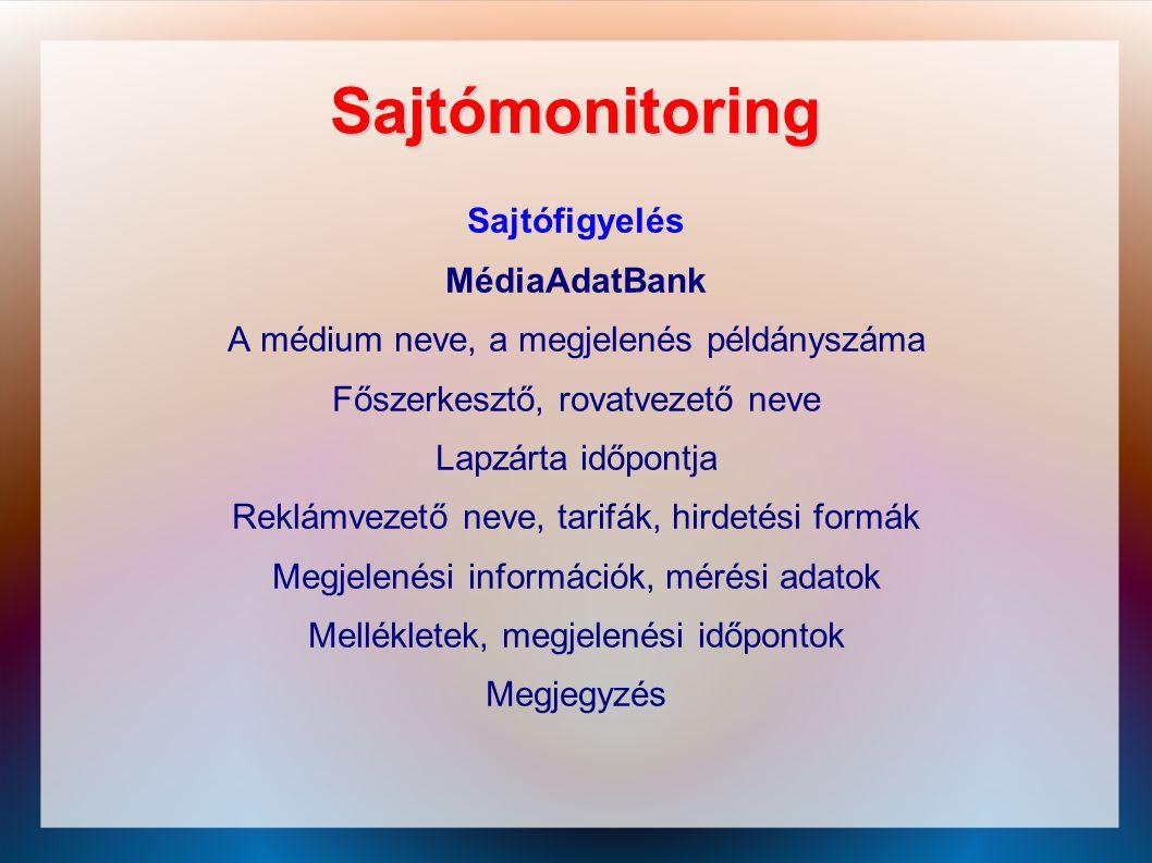 Sajtómonitoring Sajtófigyelés MédiaAdatBank