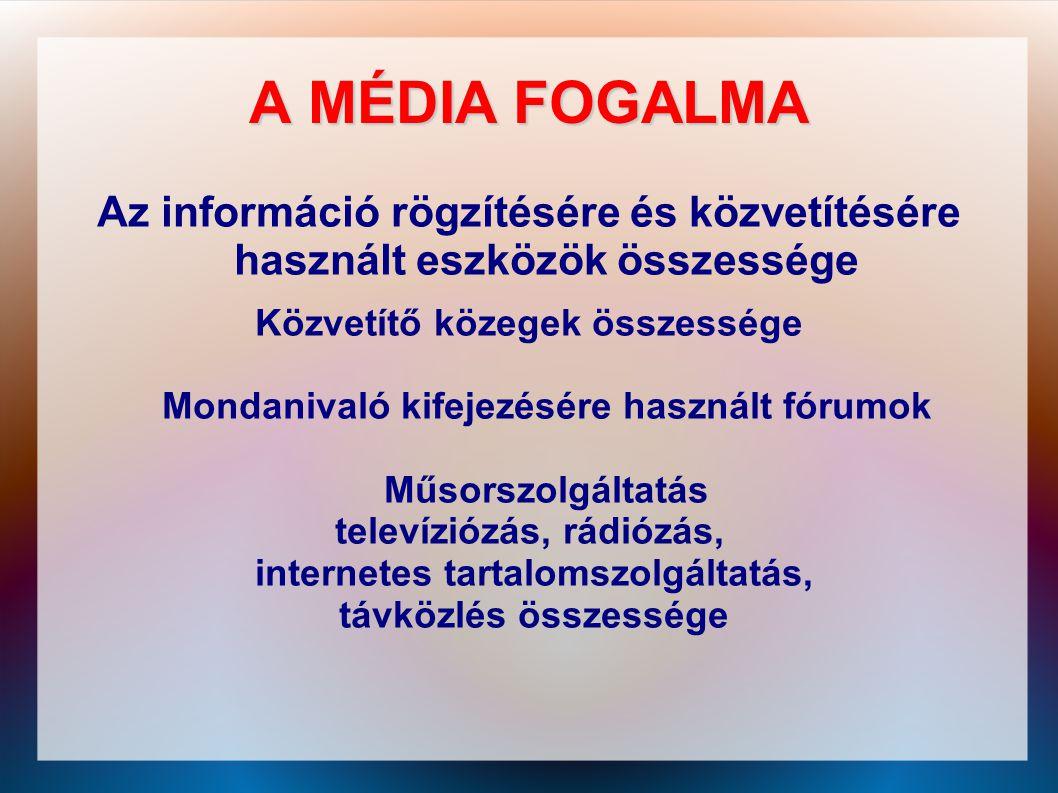 A MÉDIA FOGALMA Az információ rögzítésére és közvetítésére használt eszközök összessége. Közvetítő közegek összessége.