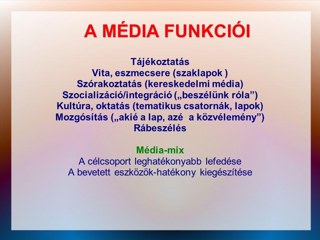 A MÉDIA FUNKCIÓI Tájékoztatás Vita, eszmecsere (szaklapok )