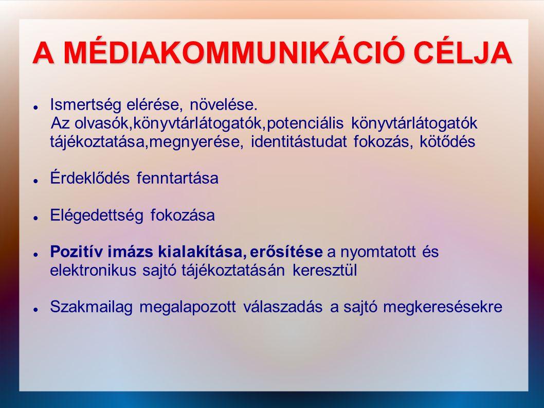 A MÉDIAKOMMUNIKÁCIÓ CÉLJA
