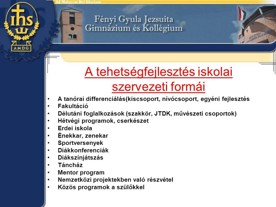 A tehetségfejlesztés iskolai szervezeti formái