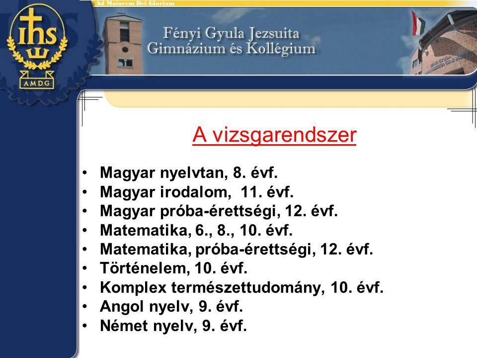A vizsgarendszer Magyar nyelvtan, 8. évf. Magyar irodalom, 11. évf.
