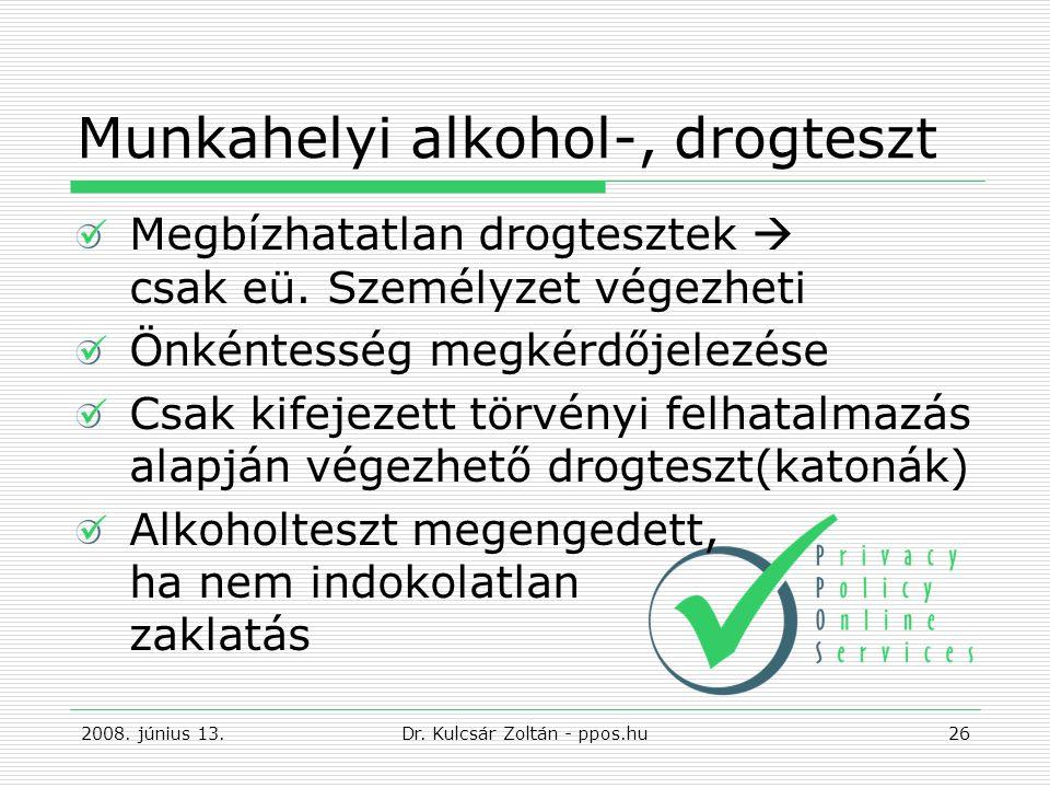 Munkahelyi alkohol-, drogteszt