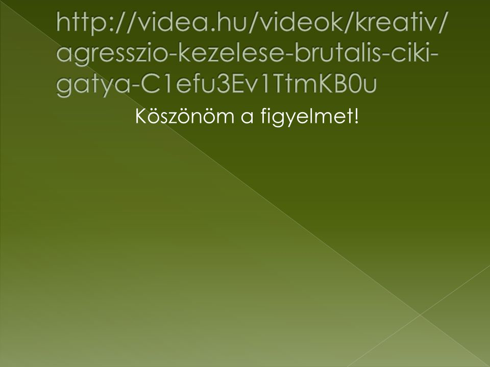 http://videa.hu/videok/kreativ/agresszio-kezelese-brutalis-ciki-gatya-C1efu3Ev1TtmKB0u Köszönöm a figyelmet!