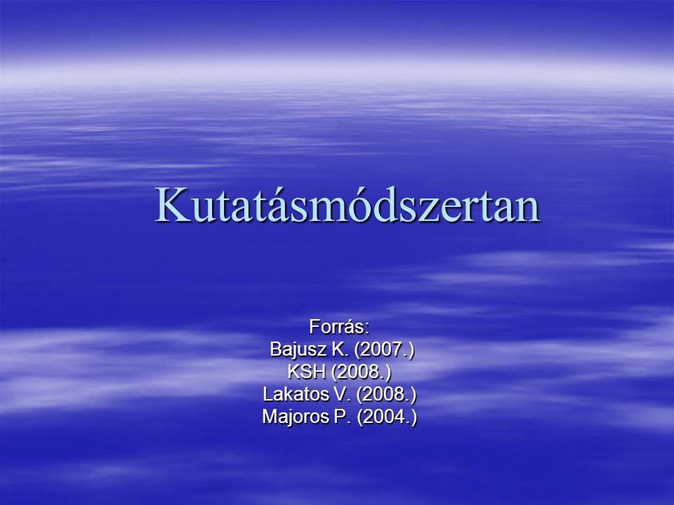Kutatásmódszertan Forrás: Bajusz K. (2007.) KSH (2008.)