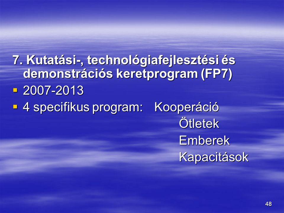 7. Kutatási-, technológiafejlesztési és demonstrációs keretprogram (FP7)